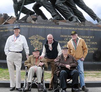 Eddie Mannis at Iwo Jima memorial in Washington, D.C.